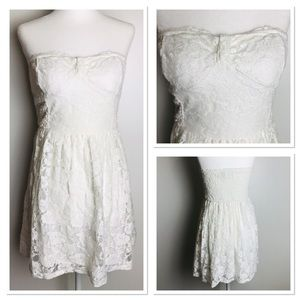 Abercrombie&Fitch Strapless White Lace Mini Dress